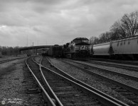 Roanoke Train Yard Locomotive B&W